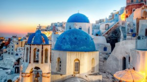 Blue Domes On A Church In A Greek Town HD Desktop Background